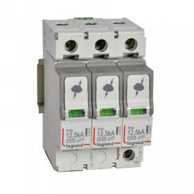 Parafoudre protection tableau principal T1 + T2 Iimp 12,5kA/pôle - 3P - 3 modules LEGRAND