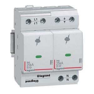 Parafoudre protection instal. de risque très élevé T1 + T2 Iimp 25kA/pôle - 1P+N - 4 modules LEGRAND