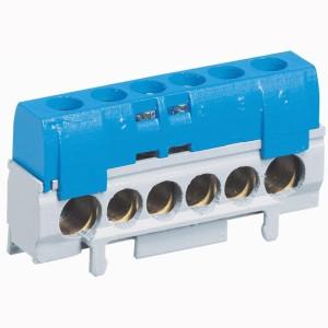 Bornier de répartition IP2X neutre - 1 connexion 10mm² à 35mm² - bleu -L.62mm LEGRAND