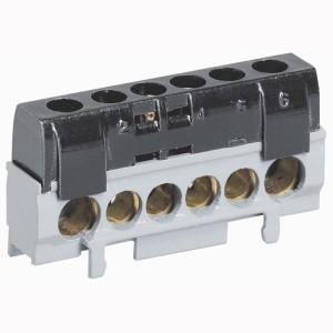 Bornier de répartition IP2X phase - 1 connexion 10mm² à 35mm² - noir - L.62mm LEGRAND