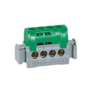 Bornier de répartition isolé IP2X terre - 4 connexions 1,5mm² à 16mm²- vert - L.47mm LEGRAND