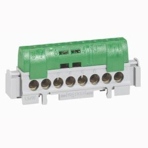 Bornier de répartition isolé IP2X terre - 8 connexions 1,5mm² à 16mm²- vert - longueur 75mm LEGRAND