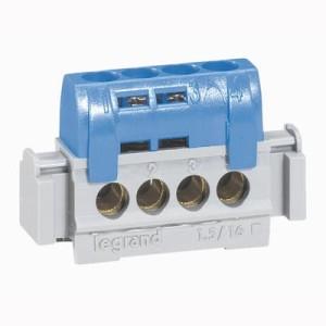 Bornier de répartition isolé IP2X neutre - 4 connexions 1,5mm² à 16mm² - bleu - L.75mm LEGRAND