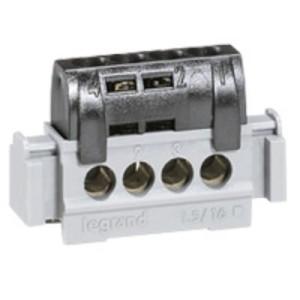 Bornier de répartition isolé IP2X phase - 4 connexions 1,5mm² à 16mm²- noir - L.47mm LEGRAND
