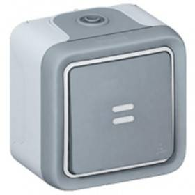 Poussoir NO lumineux 10A Plexo complet IP55 saillie - gris LEGRAND