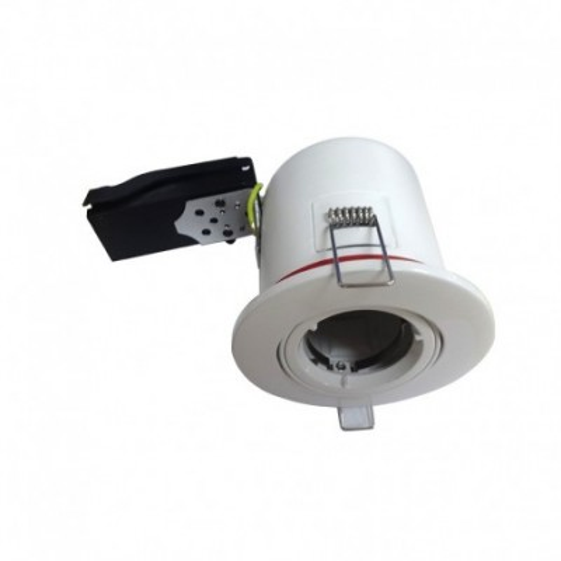 Support plafond rond inclinable blanc avec douille automatique Ø 100MM VISION EL