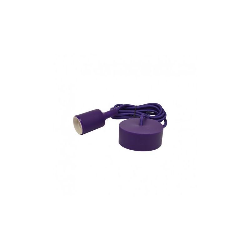 Suspension douille silicone E27 - violet VISION EL
