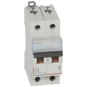 Disjoncteur DX³ 6000 - 2P - 8A - 230/400V~ Courbe C - vis/vis LEGRAND