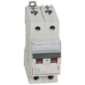 Disjoncteur DX³ 6000 - 2P - 10A - 230/400V~ Courbe C - vis/vis LEGRAND