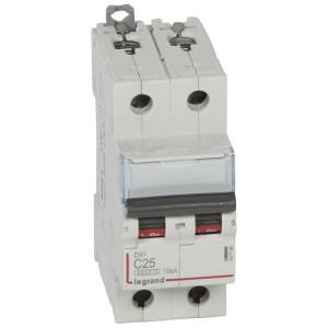 Disjoncteur DX³ 6000 - 2P - 25A - 230/400V~ Courbe C - vis/vis LEGRAND