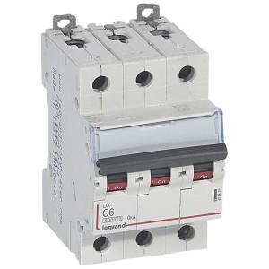 Disjoncteur DX³6000 - 3P - 6A - 400V~ - Courbe C - vis/vis LEGRAND