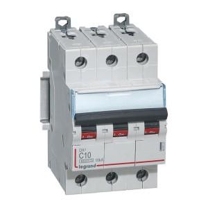 Disjoncteur DX³6000 - 3P - 10A - 400V~ - Courbe C - vis/vis LEGRAND
