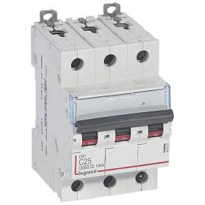 Disjoncteur DX³6000 - 3P - 25A - 400V~ - Courbe C - vis/vis LEGRAND