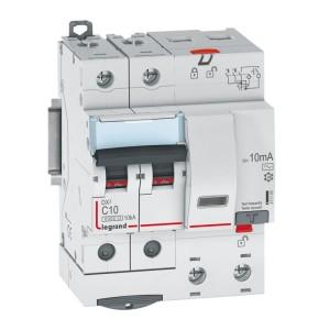 Disjoncteur différentiel DX³ 6000 2P - 230 à 400V~ - 10A - 10mA - courbe C LEGRAND