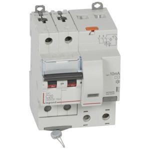Disjoncteur différentiel DX³ 6000 2P - 230 à 400V~ - 20A - 10mA - courbe C LEGRAND
