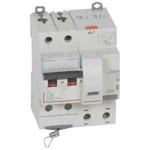 Disjoncteur différentiel DX³ 6000 2P - 230 à 400V~ - 16A - 30mA - courbe C LEGRAND