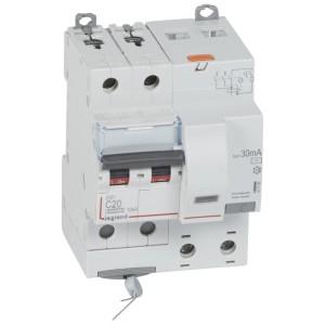 Disjoncteur différentiel DX³ 6000 2P - 230 à 400V~ - 20A - 30mA - courbe C LEGRAND