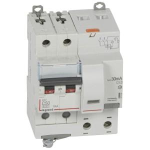 Disjoncteur différentiel DX³ 6000 2P - 230 à 400V~ - 50A - 30mA - courbe C LEGRAND