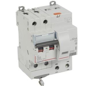 Disjoncteur différentiel DX³ 6000 2P - 230 à 400V~ - 63A - 30mA - courbe C LEGRAND