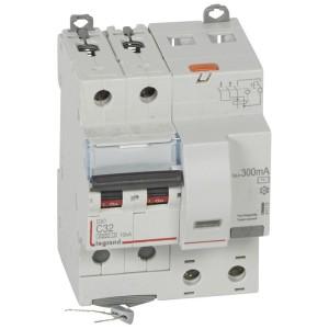 Disjoncteur différentiel DX³ 6000 2P - 230 à 400V~ - 32A - 300mA - courbe C LEGRAND