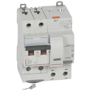 Disjoncteur différentiel DX³ 6000 2P - 230 à 400V~ - 63A - 300mA - courbe C LEGRAND
