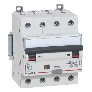 Disjoncteur différentiel DX³ 6000 4P - 400V~ - 20A - 300mA - courbe B LEGRAND