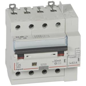 Disjoncteur différentiel DX³ 6000 - 4P - 400V~ - 25A - Type AC - 30mA LEGRAND