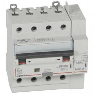 Disjoncteur différentiel DX³ 6000 - 4P - 400V~ - 25A - Type AC - 300mA LEGRAND