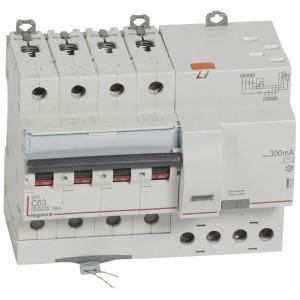 Disjoncteur différentiel DX³ 6000 - 4P - 400V~ - 63A - Type AC - 300mA LEGRAND