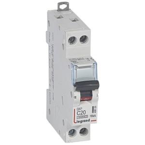 Disjoncteur DX³ 10000 - 16kA - U+N 230V~ 20A - courbe C - 1 module LEGRAND