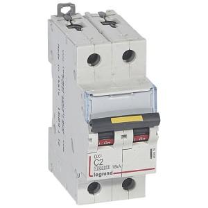Disjoncteur DX³ 10000 - 16kA - 2P 230 à 400 V~ 2A - courbe C - 2 modules LEGRAND