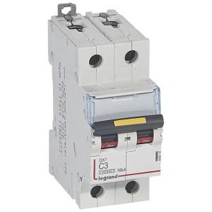 Disjoncteur DX³ 10000 - 16kA - 2P 230 à 400 V~ 3A - courbe C - 2 modules LEGRAND