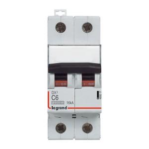 Disjoncteur DX³ 10000 - 16kA - 2P 230 à 400 V~ 6A - courbe C - 2 modules LEGRAND