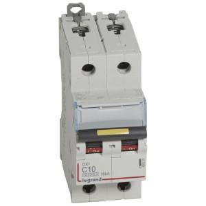 Disjoncteur DX³ 10000 - 16kA - 2P 230 à 400 V~ 10A - courbe C - 2 modules LEGRAND