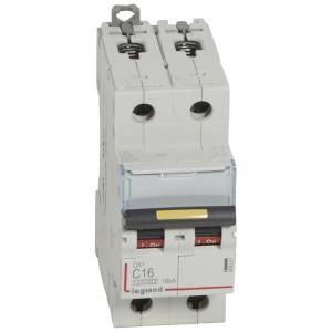 Disjoncteur DX³ 10000 - 16kA - 2P 230 à 400 V~ 16A - courbe C - 2 modules LEGRAND