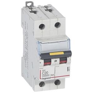 Disjoncteur DX³ 10000 - 16kA - 2P 230 à 400 V~ 20A - courbe C - 2 modules LEGRAND