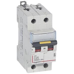 Disjoncteur DX³ 10000 - 16kA - 2P 230 à 400 V~ 25A - courbe C - 2 modules LEGRAND