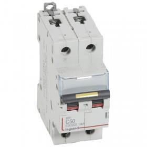 Disjoncteur DX³ 10000 - 16kA - 2P 230 à 400 V~ 50A - courbe C - 2 modules LEGRAND