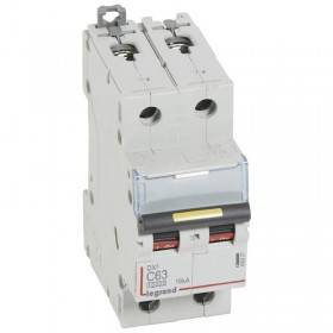 Disjoncteur DX³ 10000 - 16kA - 2P 230V~ à 400V~ - 63A - courbe C - 2 modules LEGRAND