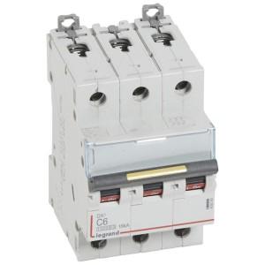 Disjoncteur DX³ 10000 - 16kA - 3P - 400V~ - 6A - courbe C - 3 modules LEGRAND