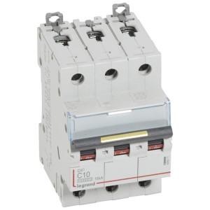 Disjoncteur DX³ 10000 - 16kA - 3P - 400V~ - 10A - courbe C - 3 modules LEGRAND