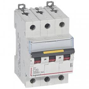 Disjoncteur DX³ 10000 - 16kA - 3P - 400V~ - 20A - courbe C - 3 modules LEGRAND
