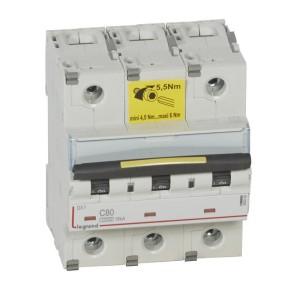 Disjoncteur DX³ 10000 - 16kA - 3P - 400V~ - 80A - courbe C - 4,5 modules LEGRAND