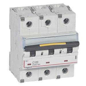Disjoncteur DX³ 10000 - 16kA - 3P - 400V~ - 100A - courbe C - 4,5 modules LEGRAND