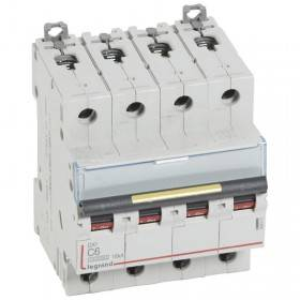 Disjoncteur DX³ 10000 - 16kA - 4P - 400V~ - 6A - courbe C - 4 modules LEGRAND