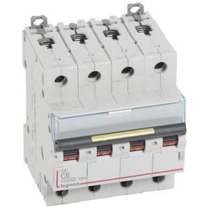 Disjoncteur DX³ 10000 - 16kA - 4P - 400V~ - 10A - courbe C - 4 modules LEGRAND