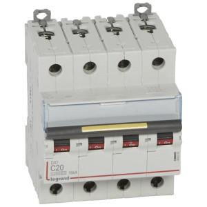 Disjoncteur DX³ 10000 - 16kA - 4P - 400V~ - 20A - courbe C - 4 modules LEGRAND