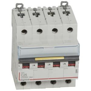 Disjoncteur DX³ 10000 - 16kA - 4P - 400V~ - 25A - courbe C - 4 modules LEGRAND