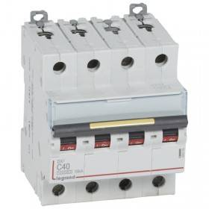 Disjoncteur DX³ 10000 - 16kA - 4P - 400V~ - 40A - courbe C - 4 modules LEGRAND