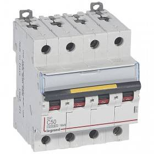 Disjoncteur DX³ 10000 - 16kA - 4P - 400V~ - 50A - courbe C - 4 modules LEGRAND